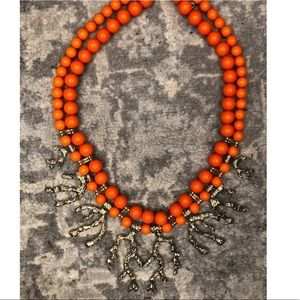 Francesca's Chunky Orange Coral Statement Necklace